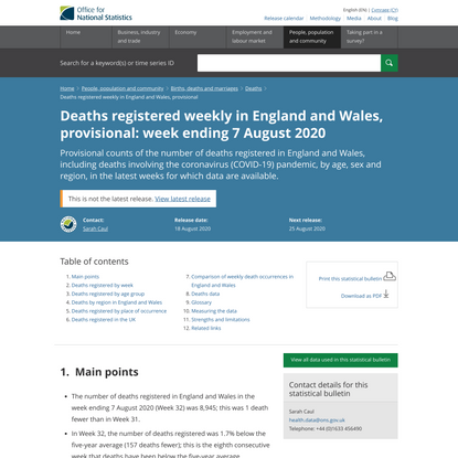 Deaths registered weekly in England and Wales, provisional - Office for National Statistics
