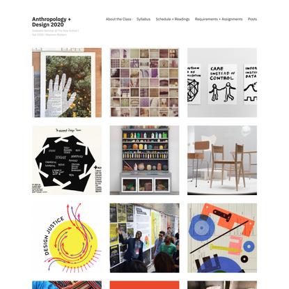 Anthropology + Design 2020 – Graduate Seminar @ The New School   Fall 2020   Shannon Mattern
