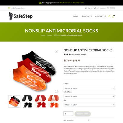 NONSLIP ANTIMICROBIAL SOCKS - SafeStep