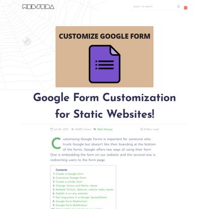 Google Form Customization for Static Websites!