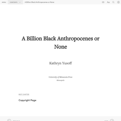 """Title Page"" in ""A Billion Black Anthropocenes or None"" on Manifold @uminnpress"