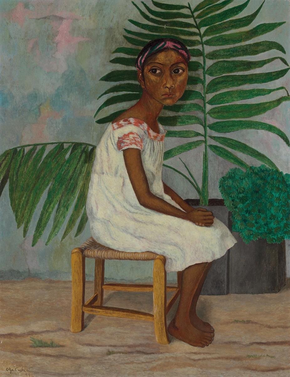 Olga Costa La niña de las palmas 1944 oil on canvas 33¾ x 26 in. (85.7 x 66 cm.) Private Collection