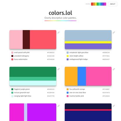 colors.lol - Overly descriptive color palettes