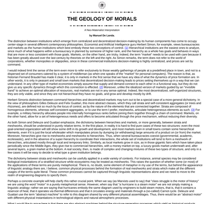 Zero News Datapool, MANUEL DE LANDA, THE GEOLOGY OF MORALS