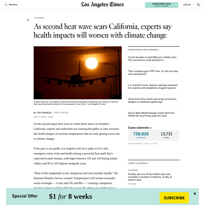 California heat-wave woes to worsen with climate change - Los Angeles Times