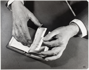 Ilse Bing Man's Hand with Notebook