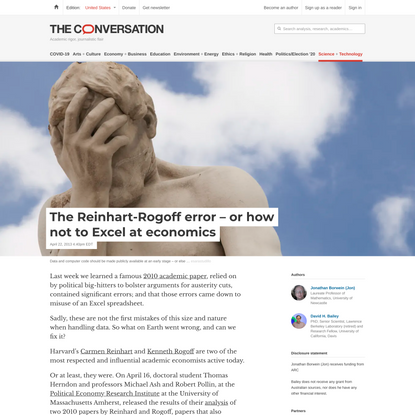 The Reinhart-Rogoff error – or how not to Excel at economics