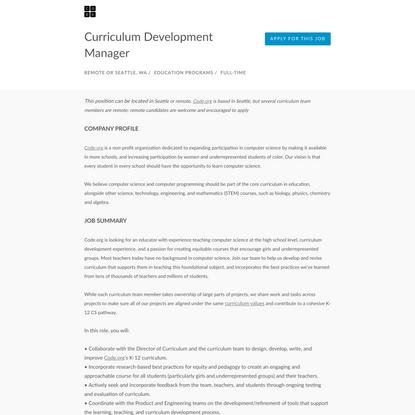 Code.org, Curriculum Development Manager