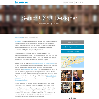 JustFix.nyc, Senior UX/UI Designer