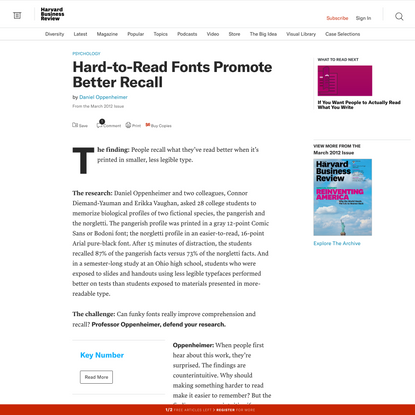 Hard-to-Read Fonts Promote Better Recall
