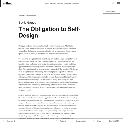 The Obligation to Self-Design - Journal #0 - e-flux