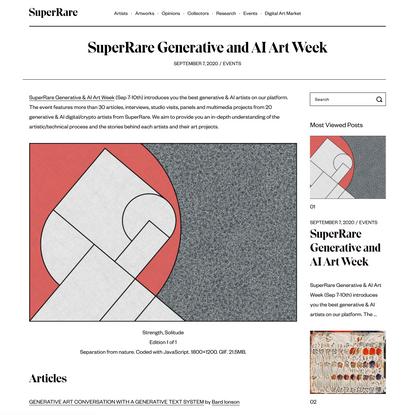 SuperRare Generative and AI Art Week