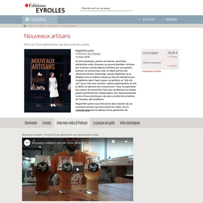 Nouveaux artisans - Portrait d'une génération qui bouscule les... - Éditions Eyrolles
