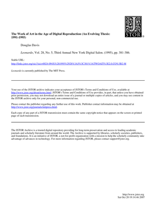 The Work of Art in the Age of Digital Reproduction (An Evolving Thesis:1991-1995)