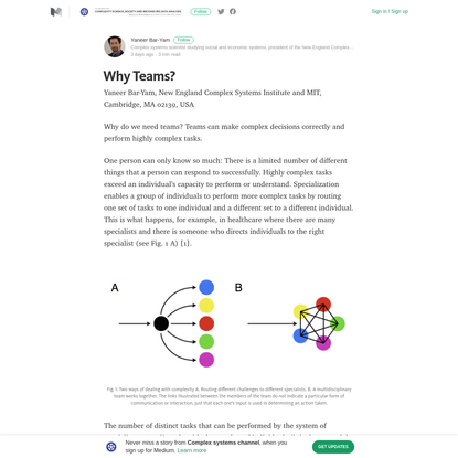 Why Teams? - Complex systems channel