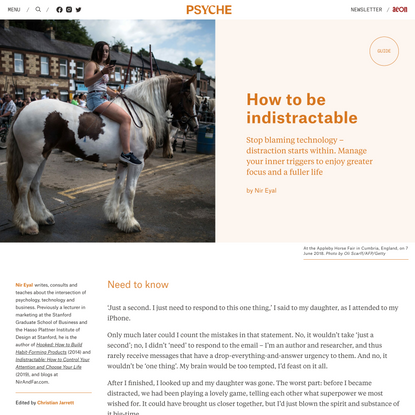 How to be indistractable | Psyche Guides