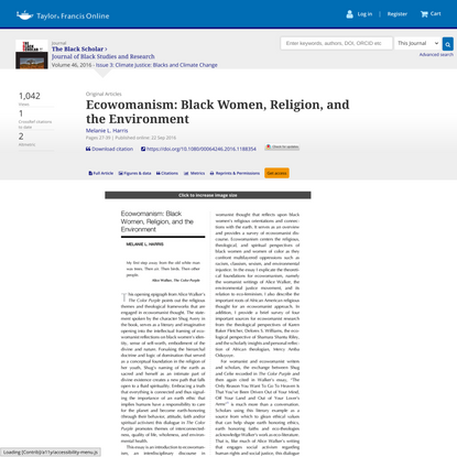 Ecowomanism: Black Women, Religion, and the Environment