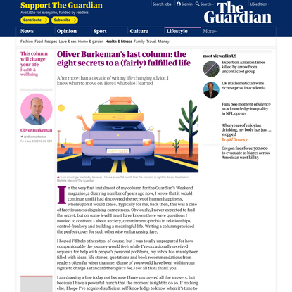 Oliver Burkeman's last column: the eight secrets to a (fairly) fulfilled life | Life and style | The Guardian