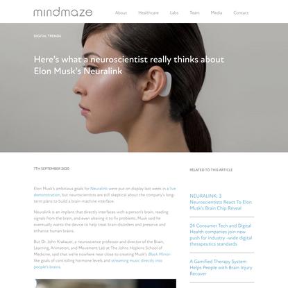 Here's what a neuroscientist really thinks about Elon Musk's Neuralink - MindMaze