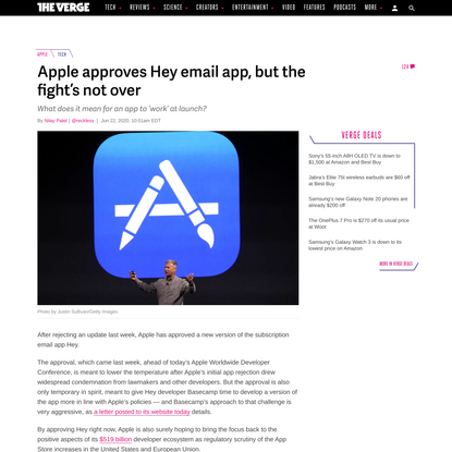 Apple approves Hey email app, but the fight's not over