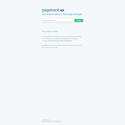 pagetrack - get notified when a web page changes