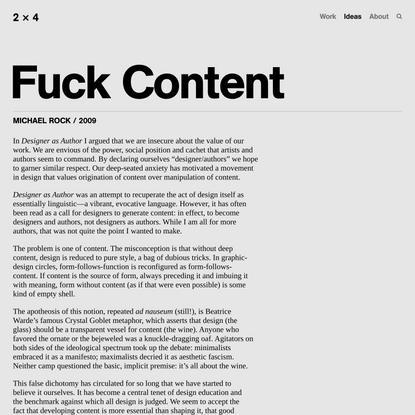 Fuck Content — 2x4