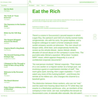 Erin Schwartz, Writer ... Eat the Rich