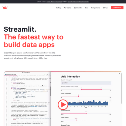 Streamlit — The fastest way to create data apps