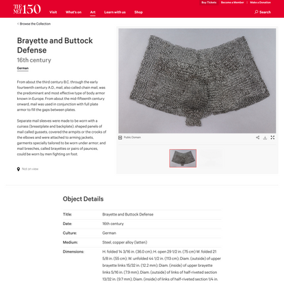 Brayette and Buttock Defense   German   The Met