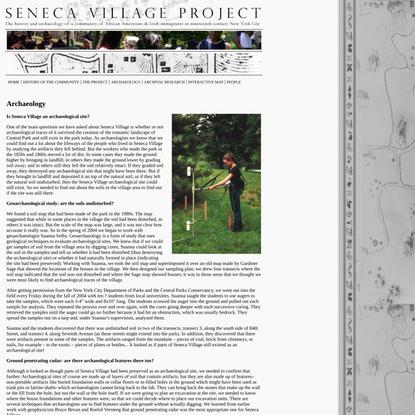 Seneca Village - Archaeology