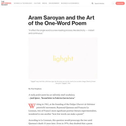Aram Saroyan and the Art of the One-Word Poem