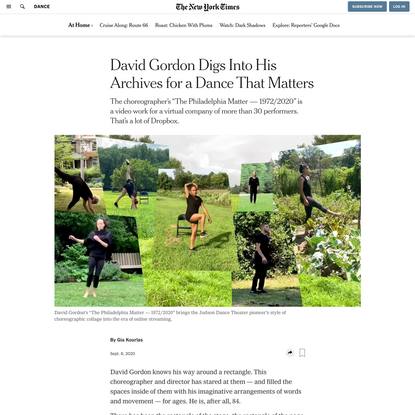 David Gordon Digs Into His Archives for a Dance That Matters