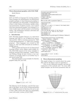 Three-dimensional graphics with PGF/TikZ