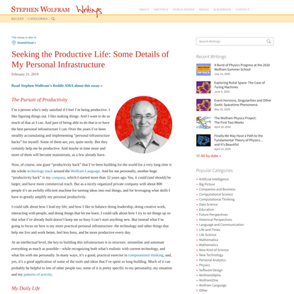 Seeking the Productive Life: Some Details of My Personal Infrastructure—Stephen Wolfram Writings