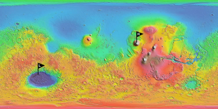map-of-mars highest and lowest points