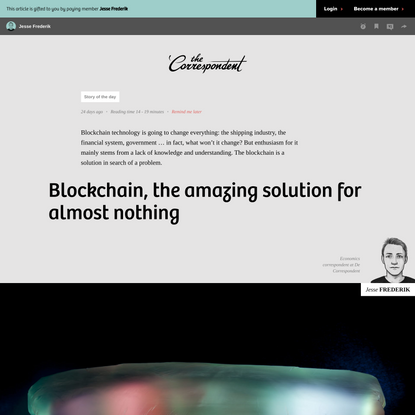 Blockchain, the amazing solution for almost nothing