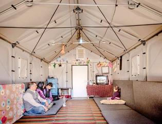 "Interior of Ikea ""Better Shelter"" prototype, Kawergosk Refugee Camp, Erbil, Iraq, 2015."