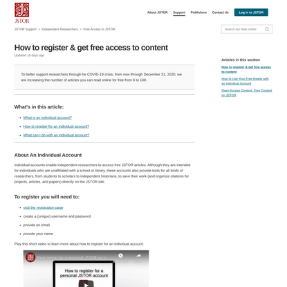 How to register & get free access to content