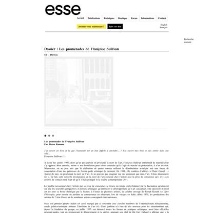 Dossier | Les promenades de Françoise Sullivan | esse arts + opinions