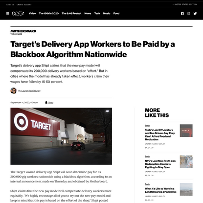 Target's Delivery App Workers to Be Paid by a Blackbox Algorithm Nationwide