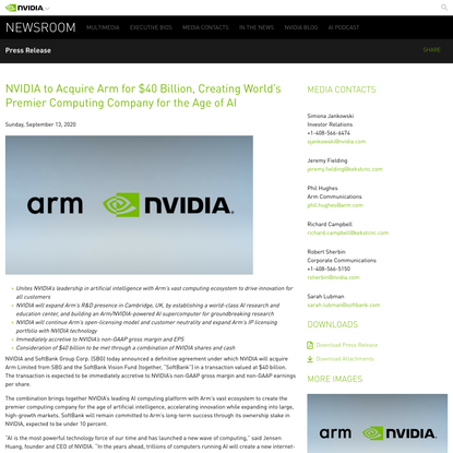 NVIDIA to Acquire Arm for $40 Billion, Creating World's Premier Computing Company for the Age of AI