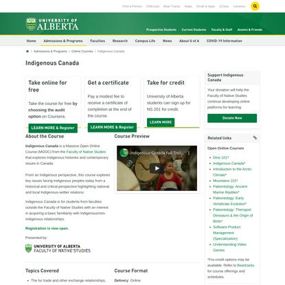 Indigenous Canada | University of Alberta