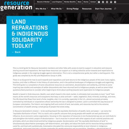 Land Reparations & Indigenous Solidarity Toolkit