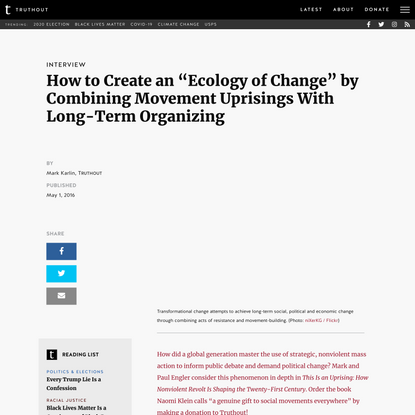 """How to Create an """"Ecology of Change"""" by Combining Movement Uprisings With Long-Term Organizing"""