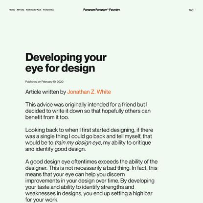 Developing youreye for design