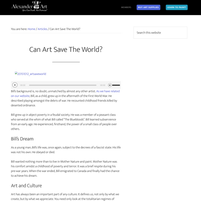 Can Art Save The World?