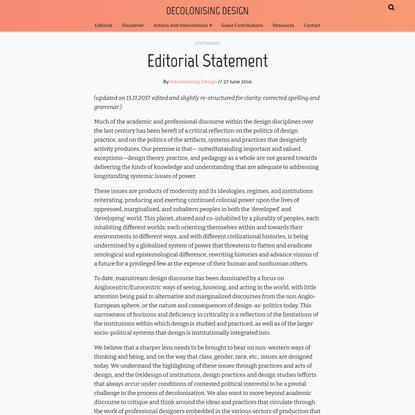 Editorial Statement