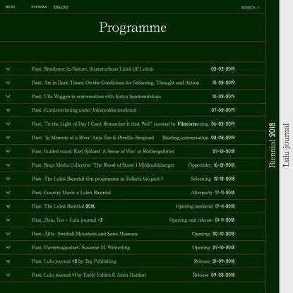 Luleåbiennalen 2018 | Programme
