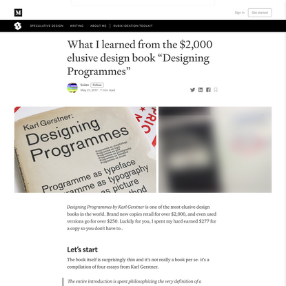 """What I learned from the $2,000 elusive design book """"Designing Programmes"""""""