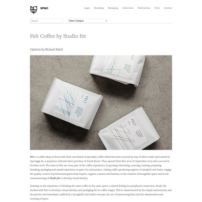 New Packaging for Felt Coffee by Studio fnt — BP&O